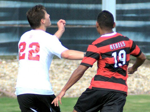 Bradley forward Jason Lesch battles with UNLV midfielder Kevin Partida during last month's Hotels at Grand Prarie Classic.