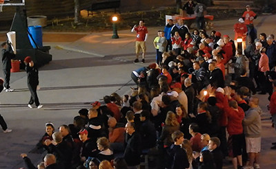 Bradley Braves fans gather at the Peoria RiverFront during last week's Red-White River Jam for the event's player introductions.