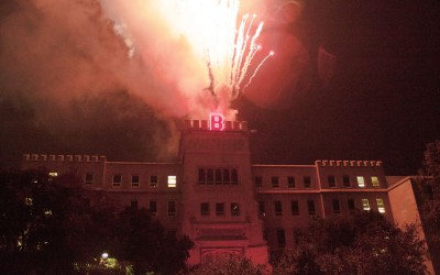 Homecoming Week kicked off Wednesday night with the Lighting of the B in Founder's Circle.