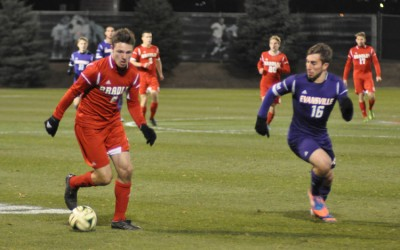 Freshman forward Richard Olson looks to control a loose ball in the second half. Olson assisted on Bradley's only goal of the night. Photo by Dan Smith.