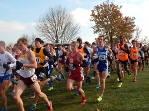Senior Eric Delvo races in a pack of other athletes at last weekend's NCAA Midwest Regionals. Delvo placed 52nd in the event, eight places behind teammate Chase Coffey. Photo by Garth Shanklin.