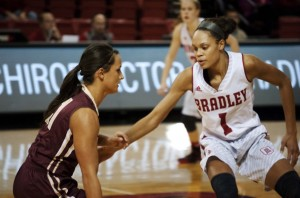 Michelle Young, the only senior on Bradley's women's basketball team, plays defense in a game against Eureka College in November of last year. Photo by Maggie Cipriano.