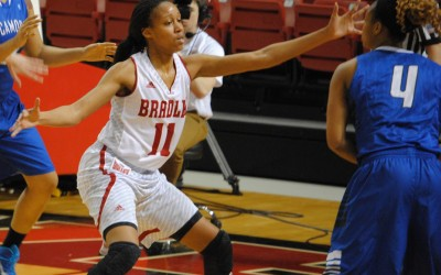 Freshman Tamya Sims defends against Indiana State earlier this month. Sims finished one rebound shy of a double-double against the Rambler. Photo by Maggie Cipriano.