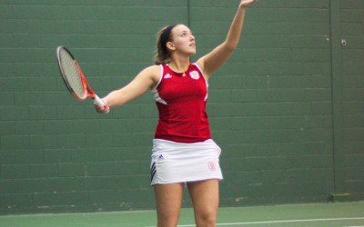 Senior Cassia Wojtalik won her match against New Orleans for Bradley's only point against the Privateers. Photo by Dan Smith.