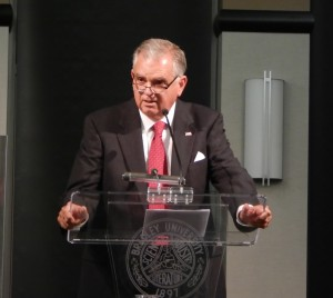 Former representative Ray LaHood ('71) talked about bipartisanship, his experience in Washington, D.C. and his new book Thursday. Photo by Tessa Armich.