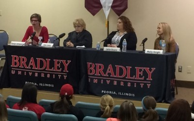 The panel on obstacles for women in sports media addresses the crowd during the inaugural Charley Steiner symposium. Photo via  the BU Steiner School Twitter account.