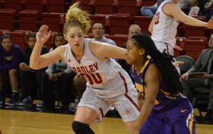 Guard Danielle Brewer plays defense in a game against Northern Iowa. Photo by Anna Foley.