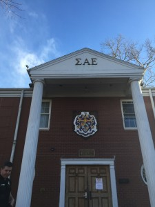 The Sigma Alpha Epsilon fraternity had a no-occupancy sign posted on their house for several days before and during spring break. Photo by Tessa Armich.