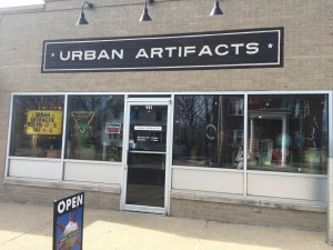 Urban Artifacts, located at 925 N. Sheridan Rd., sells non-traditional antiques, such as old street signs and Peoria souvenirs. Photo by Tori Moses.