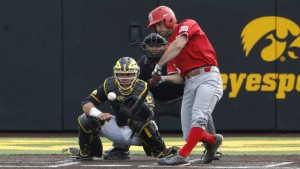 Freshman Andy Shadid swings at a pitch against Iowa. Shadid is currently riding a 10-game hitting streak. Photo via bradleybraves.com