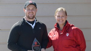 Senior Lyle buyrns poses after medaling at the Hoosier Invitational. The senior has medaled in three tourna- ments in the 2016 spring season for the Braves and four times in his Bradley career. Photo via bradleybraves.com