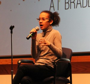 Tyler Ford tells their story and explains their experiences with gender identity in Neumiller Hall Wednesday. Photo by Ann Schnabel.