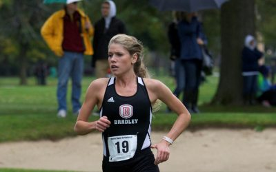 Senior Lauren Cunningham was a top performer for the Braves at Notre Dame, finishing ninth overall. Photo via bradleybraves.com.