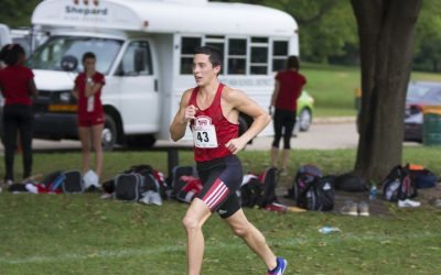 Redshirt freshman Jake Hoffert ran his career best time, 24:46.0, at last week's Pre-National race in Terre Haute, Indiana. Photo via bradleybraves.com.