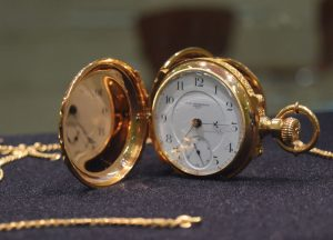 The first watch created at the Peoria Watch Company, a business established by Lydia, is a symbol of the horological program. photo by Maddie Gehling