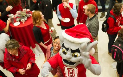 Kaboom! parties with Bradley community members at the 2015 holiday party. photo by Duane Zehr