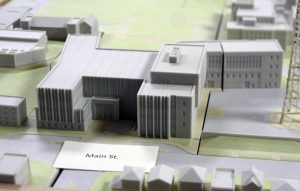 Baker Hall will be demolished this May to make room for the Business and Engineering Complex. A model of the building sits in the Shaheen Hall of Pride in Hayden-Clark Alumin Center. photo by Bradley University Marketing