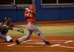 Sophomore Luke Mangieri raked over last weekend's series, going 5-10 with a double and four runs batted in. photo via Bradley University Marketing