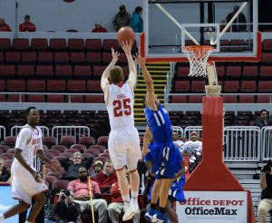 Freshman Nate Kennell knocked down a pair of three-pointers in Wednesday's loss to Indiana State. photo by Justin Limoges