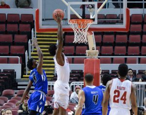 Junior forward Donte Thomas rises for a dunk in Wednesday's loss to Indiana State. Thomas had 13 points and nine rebounds in 20 minutes. photo by Justin Limoges