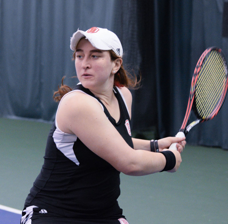 Senior Arielle Dechter now holds the Bradley career record for singles and doubles wins. photo by Justin Limoge