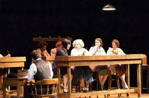 """Students act in """"These Shining Lives,"""" a play about women who fell ill from radium-related health issues at a company in Ottawa, Illinois. photo by Cenn Hall"""