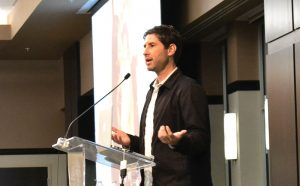 Matt de la Peña speaks to a group of about 100 people about finding his passion in writing last night in Peplow Pavilon. photo by Cenn Hall