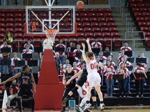 Junior Dani Brewer shoots over the SIU defense earlier in the season. photo by Justin Limoges