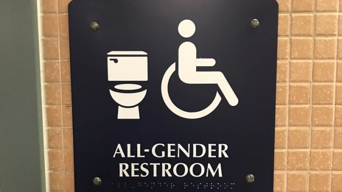 bathrooms signs. after installation is complete, a total of 30 all-gender bathrooms signs will be found on campus. these in williams hall were installed earlier this