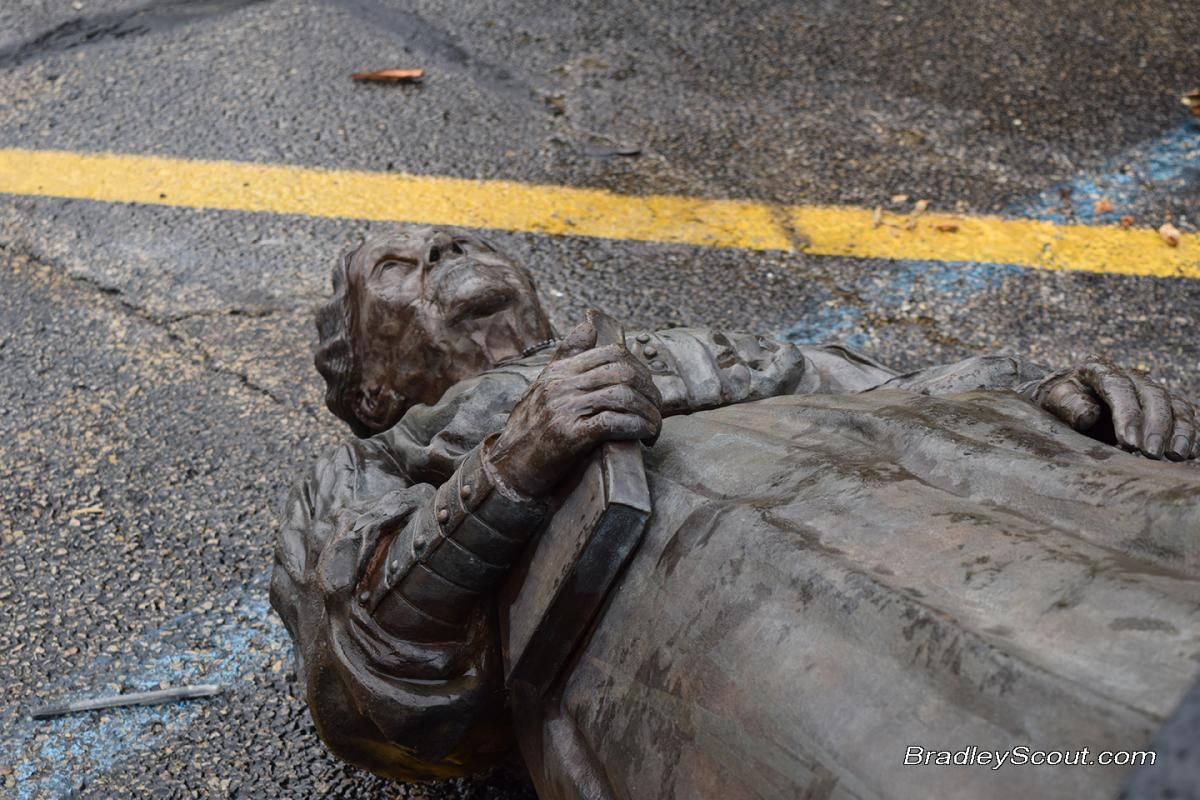 Lydia statue hit by car